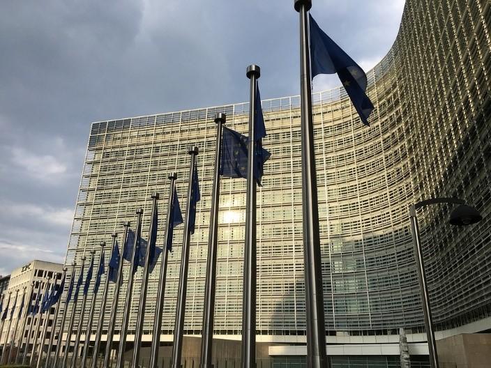 Edificios con banderas de la unión europea